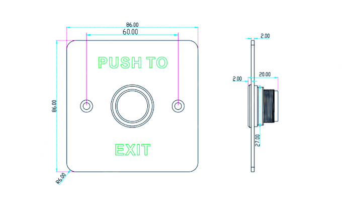 Water Proof Exit Push Button , No Touch Exit Button IP68 Stainless Steel Plate